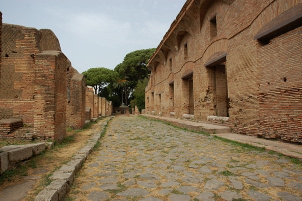 An insula in the Roman town of Ostia